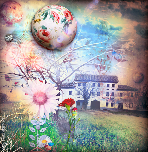 In de dag Imagination Antica fattoria in un paesaggio rurale e fantastico con fiori fiabeschi e surreali
