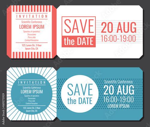 Save The Date Minimalist Invitation Ticket Vector Design Wedding