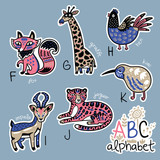 Set of cute patch badges with animals alphabet F - K - 169376542