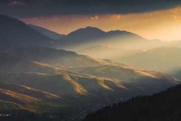 Majestic sunset light lay on a mountain hills