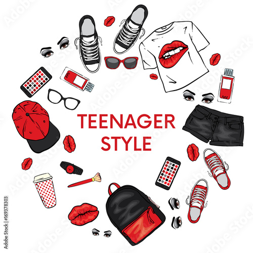 A set of clothes. Teenage style. T-shirt with print in the form of lips, backpack, sneakers, watch, smartphone, cap, shorts and perfume bottles. Vector illustration for a postcard or a poster. Frame. © vitalygrin