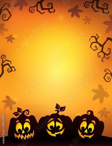 Fotobehang Voor kinderen Pumpkin silhouettes theme image 8