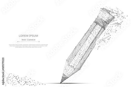 Back to School. Abstract mash line and point pancil on background with an inscription. Starry sky or space, consisting of stars and the universe. Vector education illustration.