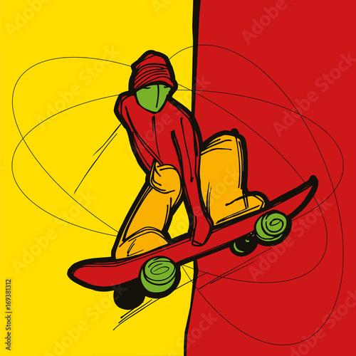 Fotobehang Skateboard Indie grab skater