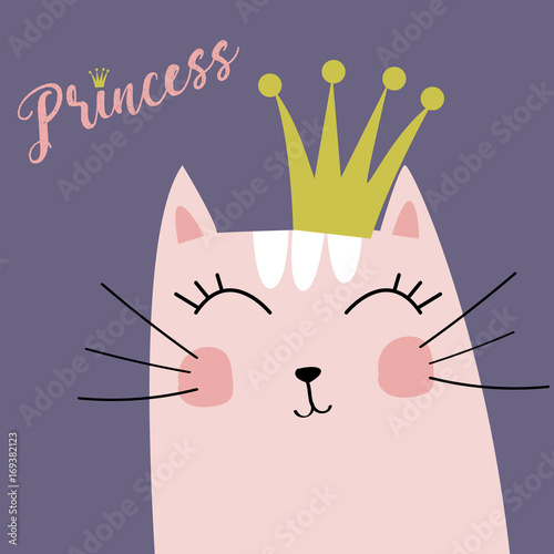 Cute Kitten with Crown and Inscription Little Princess Vector