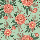 Vector seamless pattern with flowers. Floral background