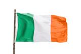 Irish flag on a wooden pole isolated on white background, Ireland symbol