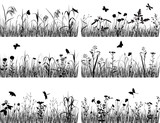 Collection of silhouettes of flowers and grasses