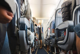 Cabin aisle in airplane - 169387313