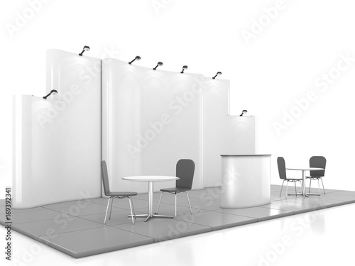 Exhibition Booth Blank : Exhibition booth original and blank template d rendering stock