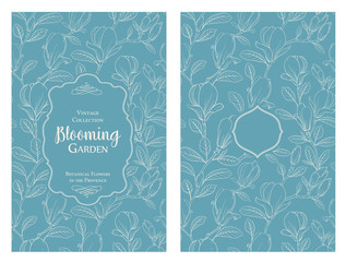 Invitation card with flowers. Blossom magnolia for you personal cover. Magnolia pattern. Floral theme for book cover. Botanical texture illustration in style of engraving. Vector illustration.