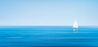 Vector blue sea, sky  background and yacht.