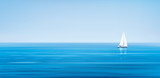 Fototapety Vector blue sea, sky  background and yacht.