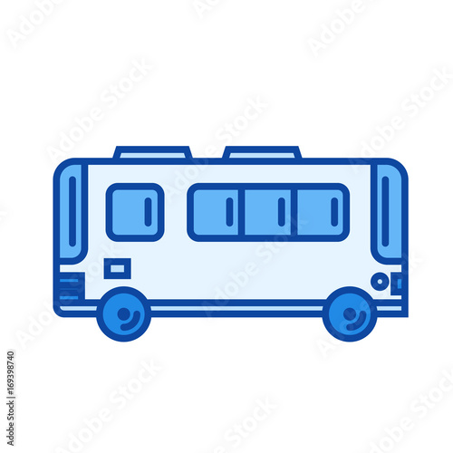 Passenger bus vector line icon isolated on white background. Passenger bus line icon for infographic, website or app. Blue icon designed on a grid system.