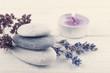 Stack of pebbles, lavender flower