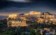 Die Akropolis von Athen mit Sternenhimmel bei Nacht, Griechenland