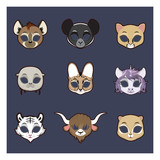 Collection of animal masks for Halloween and various festivities