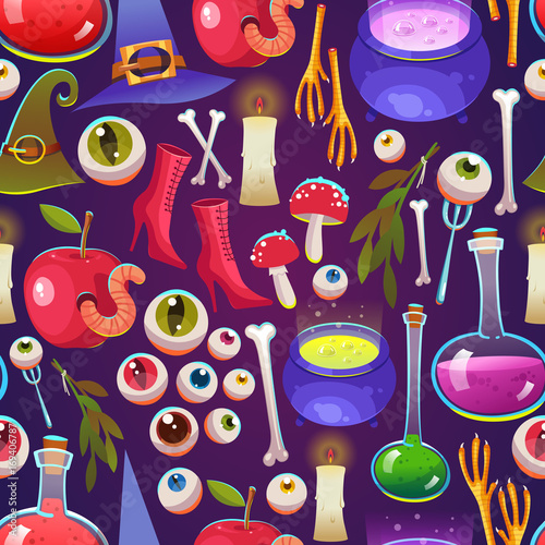 Cotton fabric Seamless halloween pattern. Funny background with scary objects. Vector set with eyes, potion, eyes, apple with worm, witches boots, hat in cartoon style.