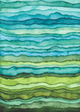 Blue and Green Waves. Hand Drawn Watercolor Background - 169409100