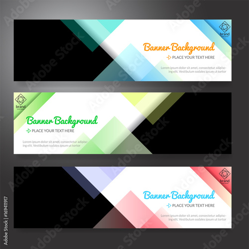 Poster Set of horizon abstract colorful display banner background with copy space