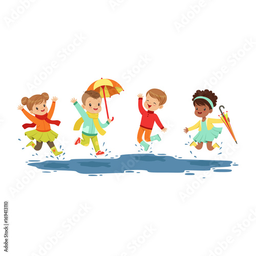 Cute smiling little kids jumping and splashing through the puddles, boys and girls playing in the rain cartoon vector Illustration