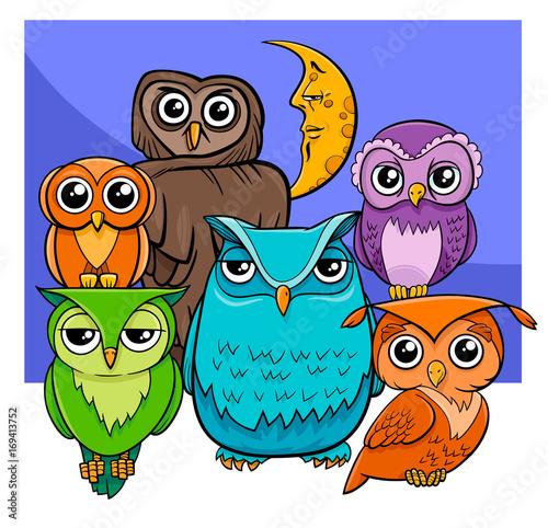 Fotobehang Uilen cartoon owls group cartoon animal characters