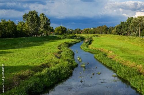 Beatiful landscape with Jeziorka river in Konstancin Jeziorna,  Poland