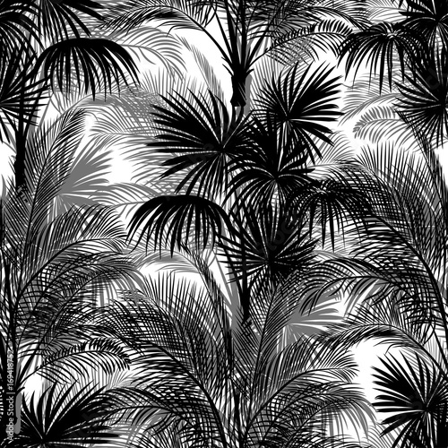 Seamless monochrome tropical pattern of palm trees. Black and white background for a Hawaiian shirt. - 169418752