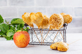 Homemade apple pie cake pops in vintage wire basket. Copy space - 169419757