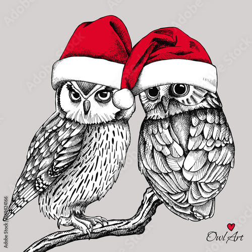 Christmas card. Image of two owls on a branch in Santa hats. Vector illustration.