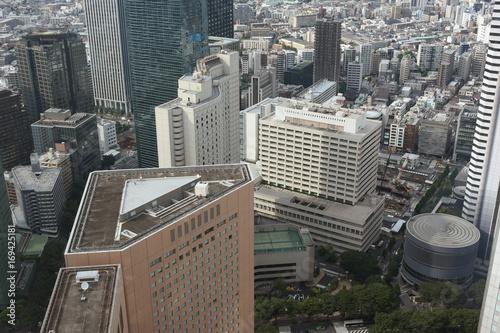 日本の東京都市風景(新宿区西新宿などのビル群や街並みを望む)
