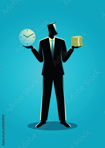 Businessman holding a clock and bank notes