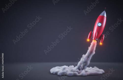 Fototapeta Red rocket launching