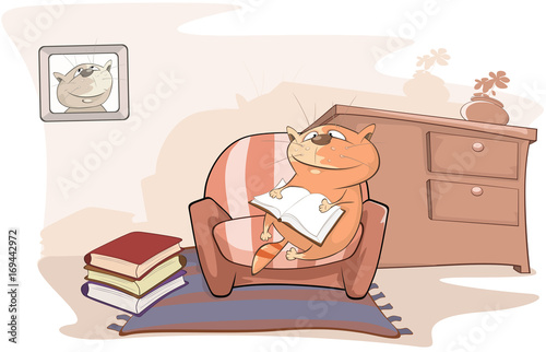 Foto op Canvas Babykamer Illustration of a Cute Cat is Reading a Book