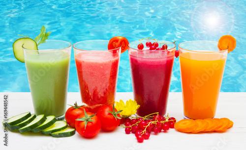 Fotobehang Sap various Freshly Vegetable Juices