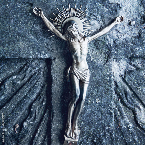 crucifixion of Jesus Christ as a symbol of resurrection and immortality of the human soul (Faith, religion, suffering, love, God concept)