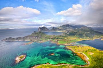Scenic aerial view of Lofoten islands in Norway
