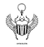 Hand drawn vector illustration - Egyptian collection. Scarab beetle with wings and ankh, symbol of pharaoh. Perfect for invitation, web, postcard, poster, textile, print etc. - 169457960