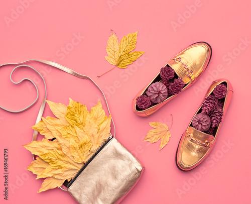 Fall Fashion Glamour Lady Look. Autumn Minimal Design.Trendy Gold Handbag Clutch. Fashion Stylish Glamour Shoes. Yellow Fall leaves.
