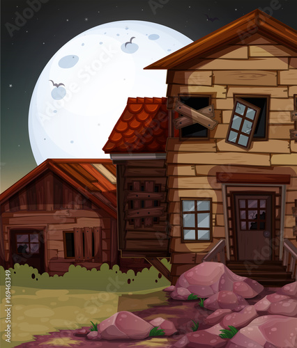 Papiers peints Marron chocolat Old wooden house at night time