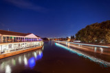 The River Thames in Reading, UK at night on a warm summer's evening.