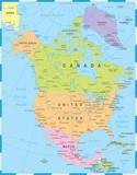 North America Map - Vector Illustration