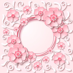 Beautiful vintage round frame with 3d light pink paper cut flowers. Vector illustration