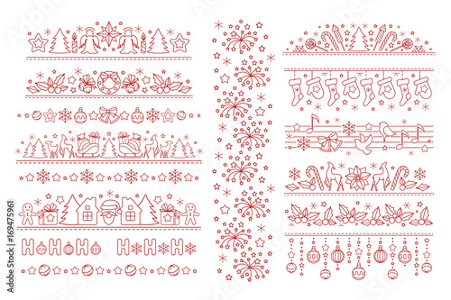 Christmas dividers with line art icons
