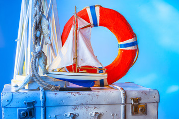 Lifebuoy on the background of a yacht.