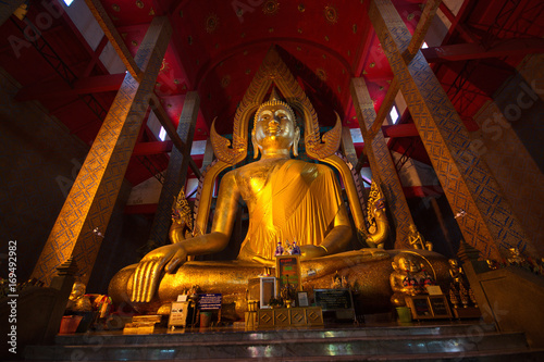 Fotobehang Boeddha A very beautiful seated Buddha image.The image is regarded as the one of largest molded metal Buddha images in Wat Tonson