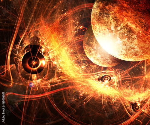 Foto op Canvas Baksteen 3D illustration artwork of space with planets and nebulas