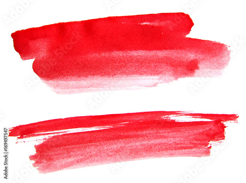 Red watercolor brushes ink on white background - 169497547