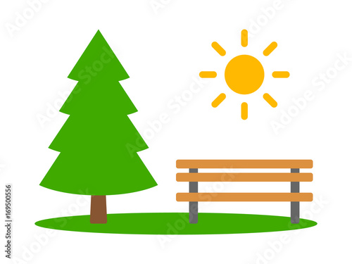 Park with evergreen pine tree, bench and sun flat color vector icon for apps and websites