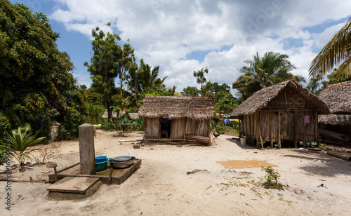 Fotobehang Overige Africa malagasy huts in Maroantsetra region, Madagascar